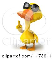 Clipart Of A 3d Yellow Duck Wearing Sunglasses And Pointing Up Royalty Free CGI Illustration