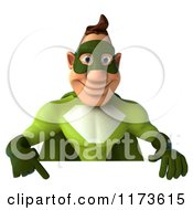 Clipart Of A 3d Super Hero Man In A Green Costume Pointing Down To A Sign Royalty Free CGI Illustration