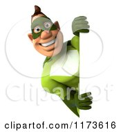 Clipart Of A 3d Super Hero Man In A Green Costume Looking Around A Sign Royalty Free CGI Illustration