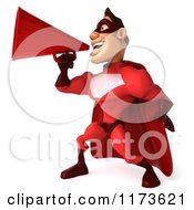 Clipart Of A 3d Super Hero Man In A Red Costume Announcing With A Megaphone 2 Royalty Free CGI Illustration