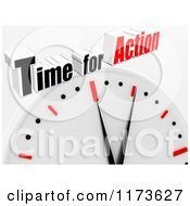 Clipart Of A 3d Clock With Time For Action Text On Gray Royalty Free CGI Illustration