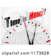 Clipart Of A 3d Clock With Time Is Money Text On Gray Royalty Free CGI Illustration