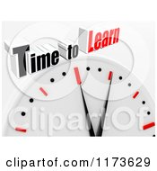 Clipart Of A 3d Clock With Time To Learn Text On Gray Royalty Free CGI Illustration