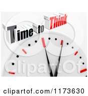 Clipart Of A 3d Clock With Time To Think Text On Gray Royalty Free CGI Illustration