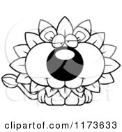 Cartoon Clipart Of A Goofy Dandelion Flower Lion Mascot Vector Outlined Coloring Page