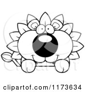 Cartoon Clipart Of A Happy Dandelion Flower Lion Mascot Over A Sign Vector Outlined Coloring Page