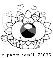 Cartoon Clipart Of A Loving Dandelion Flower Lion Mascot Vector Outlined Coloring Page