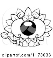 Cartoon Clipart Of A Mad Dandelion Flower Lion Mascot Vector Outlined Coloring Page