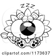 Cartoon Clipart Of A Sleeping Dandelion Flower Lion Mascot Vector Outlined Coloring Page