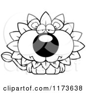 Cartoon Clipart Of A Depressed Dandelion Flower Lion Mascot Vector Outlined Coloring Page