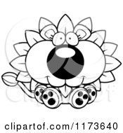 Cartoon Clipart Of A Happy Sitting Dandelion Flower Lion Mascot Vector Outlined Coloring Page