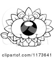 Cartoon Clipart Of A Sly Dandelion Flower Lion Mascot Vector Outlined Coloring Page