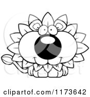 Cartoon Clipart Of A Happy Dandelion Flower Lion Mascot Vector Outlined Coloring Page