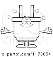 Cartoon Clipart Of A Loving Electric Plug Mascot Wanting A Hug Vector Outlined Coloring Page by Cory Thoman