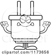 Cartoon Clipart Of A Mad Electric Plug Mascot Vector Outlined Coloring Page