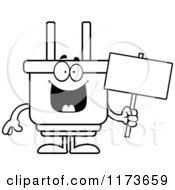 Cartoon Clipart Of A Happy Electric Plug Mascot Holding A Sign Vector Outlined Coloring Page