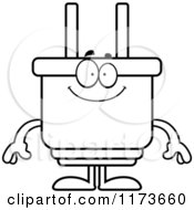 Cartoon Clipart Of A Happy Electric Plug Mascot Vector Outlined Coloring Page
