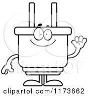 Cartoon Clipart Of A Waving Electric Plug Mascot Vector Outlined Coloring Page by Cory Thoman