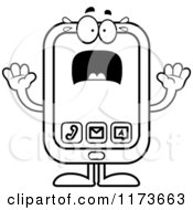 Cartoon Clipart Of A Screaming Smart Phone Mascot Vector Outlined Coloring Page by Cory Thoman