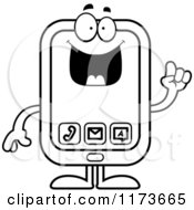 Cartoon Clipart Of A Smart Smart Phone Mascot With An Idea Vector Outlined Coloring Page by Cory Thoman