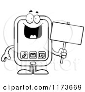 Cartoon Clipart Of A Happy Smart Phone Mascot Vector Outlined Coloring Page by Cory Thoman