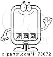 Cartoon Clipart Of A Waving Smart Phone Mascot Vector Outlined Coloring Page by Cory Thoman