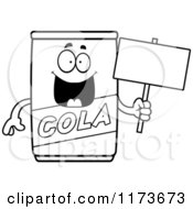 Cartoon Clipart Of A Happy Cola Mascot Holding A Blank Sign Board Vector Outlined Coloring Page by Cory Thoman