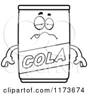 Cartoon Clipart Of A Sick Cola Mascot Vector Outlined Coloring Page by Cory Thoman