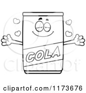 Cartoon Clipart Of A Loving Cola Mascot Wanting A Hug Vector Outlined Coloring Page by Cory Thoman