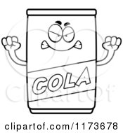 Cartoon Clipart Of A Mad Cola Mascot Vector Outlined Coloring Page by Cory Thoman