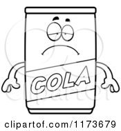 Cartoon Clipart Of A Depressed Cola Mascot Vector Outlined Coloring Page by Cory Thoman