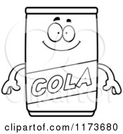 Cartoon Clipart Of A Happy Cola Mascot Vector Outlined Coloring Page by Cory Thoman