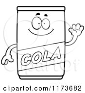 Cartoon Clipart Of A Waving Cola Mascot Vector Outlined Coloring Page by Cory Thoman
