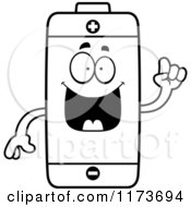 Cartoon Clipart Of A Smart Battery Mascot With An Idea Vector Outlined Coloring Page