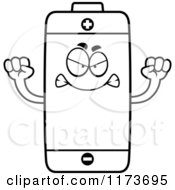 Cartoon Clipart Of A Mad Battery Mascot Vector Outlined Coloring Page by Cory Thoman