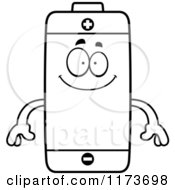 Cartoon Clipart Of A Happy Battery Mascot Vector Outlined Coloring Page