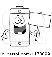 Cartoon Clipart Of A Happy Battery Mascot Holding A Sign Vector Outlined Coloring Page