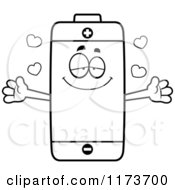 Cartoon Clipart Of A Loving Battery Mascot Wanting A Hug Vector Outlined Coloring Page by Cory Thoman