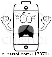 Cartoon Clipart Of A Screaming Battery Mascot Vector Outlined Coloring Page