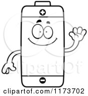 Cartoon Clipart Of A Waving Battery Mascot Vector Outlined Coloring Page