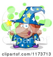 Cartoon Of A Black Wizard Girl Holding A Magic Wand With Green Bubbles Royalty Free Vector Clipart by Hit Toon
