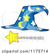 Cartoon Of A Moon And Stars Wizard Hat And Wand Royalty Free Vector Clipart by Hit Toon