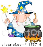 Cartoon Of A Wizard Holding A Magic Wand And Stirring A Cauldron Royalty Free Vector Clipart by Hit Toon