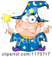 Cartoon Of A White Wizard Boy Holding A Wand Royalty Free Vector Clipart