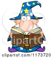 Cartoon Of A Wizard Man Reading A Spell Book Royalty Free Vector Clipart by Hit Toon