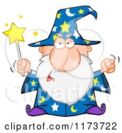 Cartoon Of A Mad Old Wizard Casting A Spell Royalty Free Vector Clipart by Hit Toon