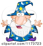 Cartoon Of An Excited Old Wizard Royalty Free Vector Clipart by Hit Toon
