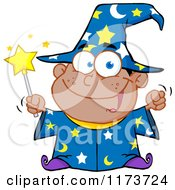 Cartoon Of A Black Wizard Boy Holding A Wand Royalty Free Vector Clipart
