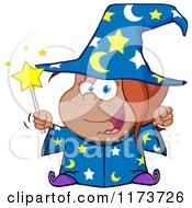 Cartoon Of A Black Wizard Girl Holding A Magic Wand Royalty Free Vector Clipart