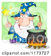Cartoon Of A Wizard Holding A Magic Wand And Stirring A Cauldron Over Green Royalty Free Vector Clipart